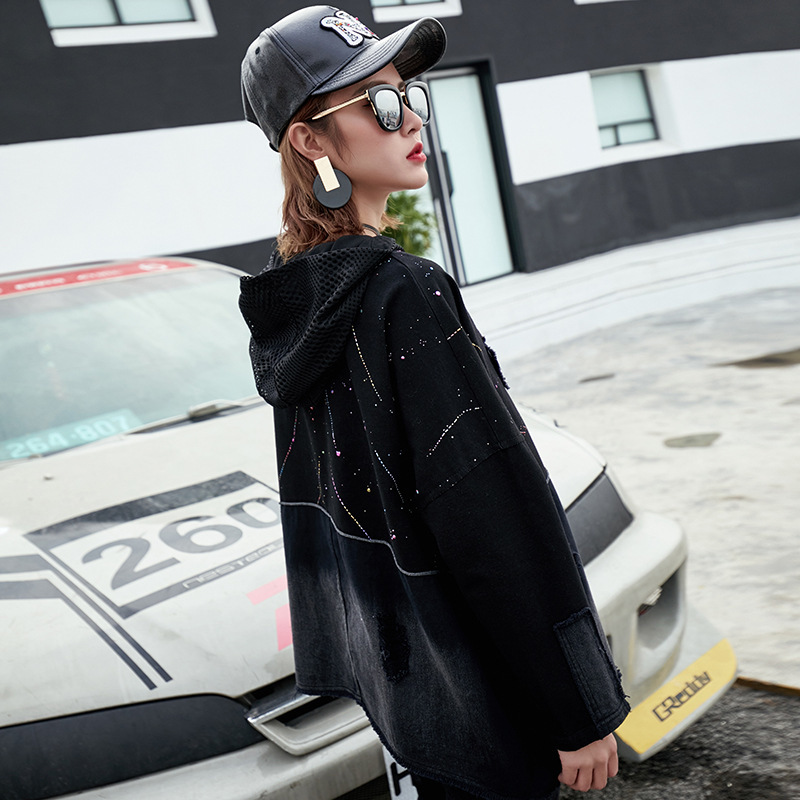 Max LuLu Luxury Japan Brand Harajuku Girls Jeans Streetwear Women Mesh Hooded Sweatshirts Denim Moletom Female Oversized Hoodies