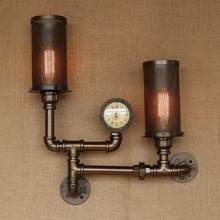 Water Pipe Vintage Loft Style Wall Lamp Industrial Wall Sconce Bedside Light Fixtures For Home Lighting Bar Cafe Living Room nordic style industrial water pipe light edison bulb vintage aisle wall lamp home decor for cafe bar hall coffee shop club store