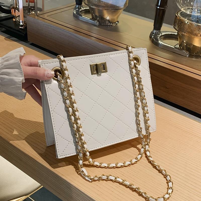 Elegant Female Handbags 2019 Fashion New High Quality PU Leather Women's Designer Handbag Lingge Chain Shoulder Messenger Bag
