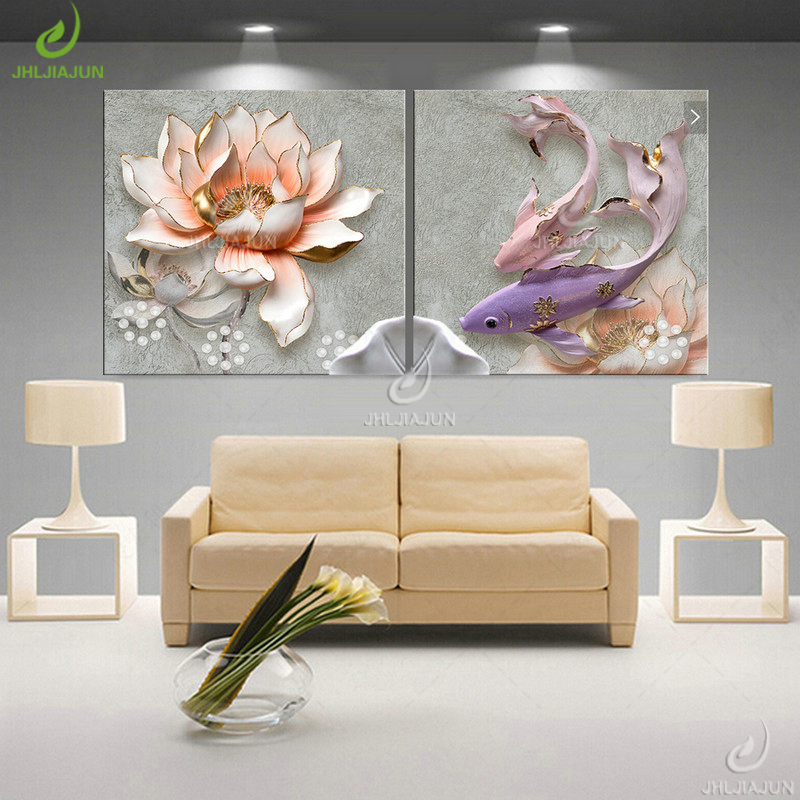 HTB1GrXYsKSSBuNjy0Flq6zBpVXak Modular Pictures 3D Art Flower Lotus Poster Wall Art Modular Paintings For Kitchen Wall Pictures Living Room Canvas Painting