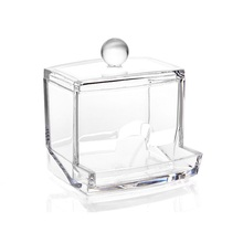 1pc Portable Clear Acrylic Cotton Swab Storage Box Creative Makeup Cosmetic Transparent Stick Organizer Holder