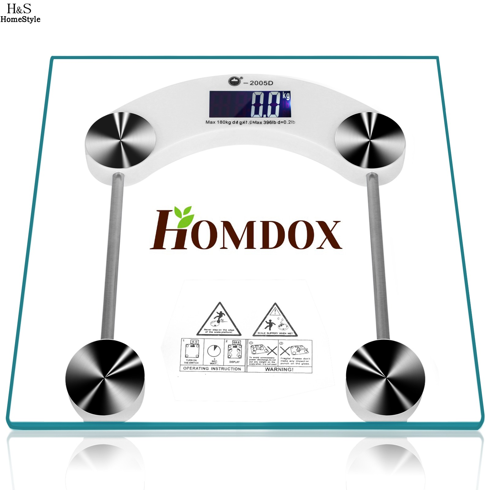 Homdox 150kg Square Digital LCD Glass Body Weight Home ...