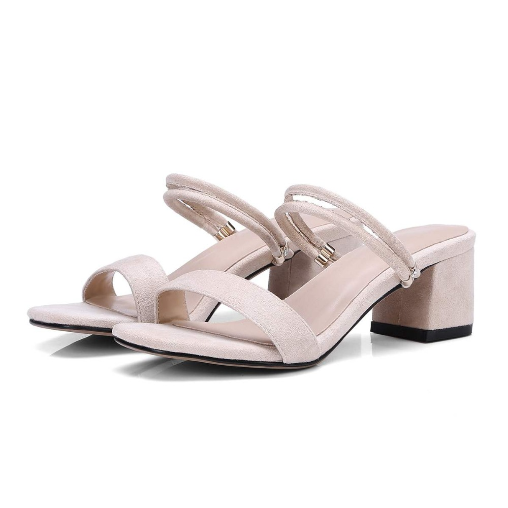 Lenkisen pu big size solid peep toe slingback women sandals slip on simple style sweet med heels summer brand shoes mules L18