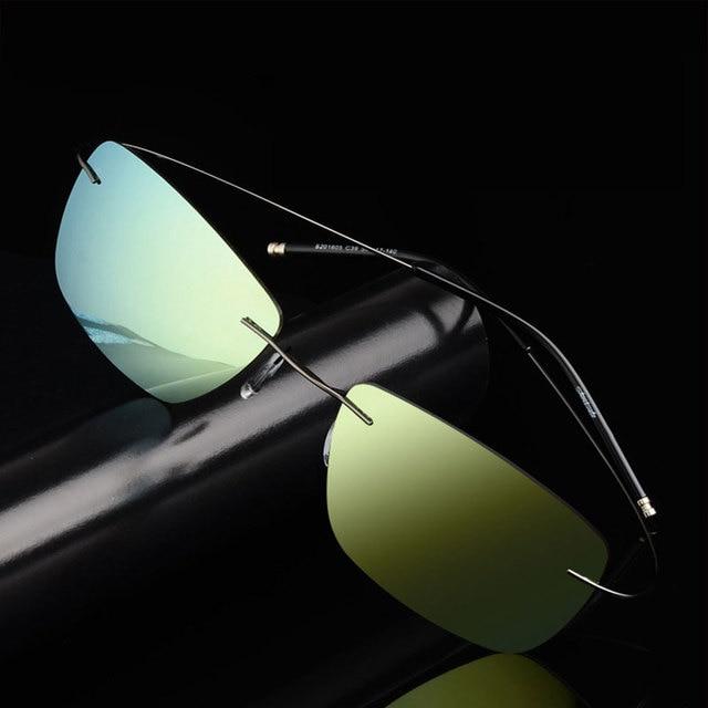 8661fc89db BAONONG Fashion Men Driving Sunglasses Brand Designer Ultralight Titanium  Alloy Rimless Polarized Fishing Sunglasses S201605