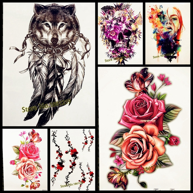 Roses Waterproof Temporary Tattoo Stickers Women Dating Makeup Back Art Tattoo Paste 21x15CM Large Body Arm Chest Tatoo Wall