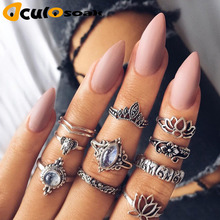 10pcs/lot Fashion Women Female Alloy Hollow Out Bow Rings Sets Bohemian Boho Finger Ring Jewelry Kit for Women Girls Wholesale a suit of vintage alloy hollow out cuff rings for women
