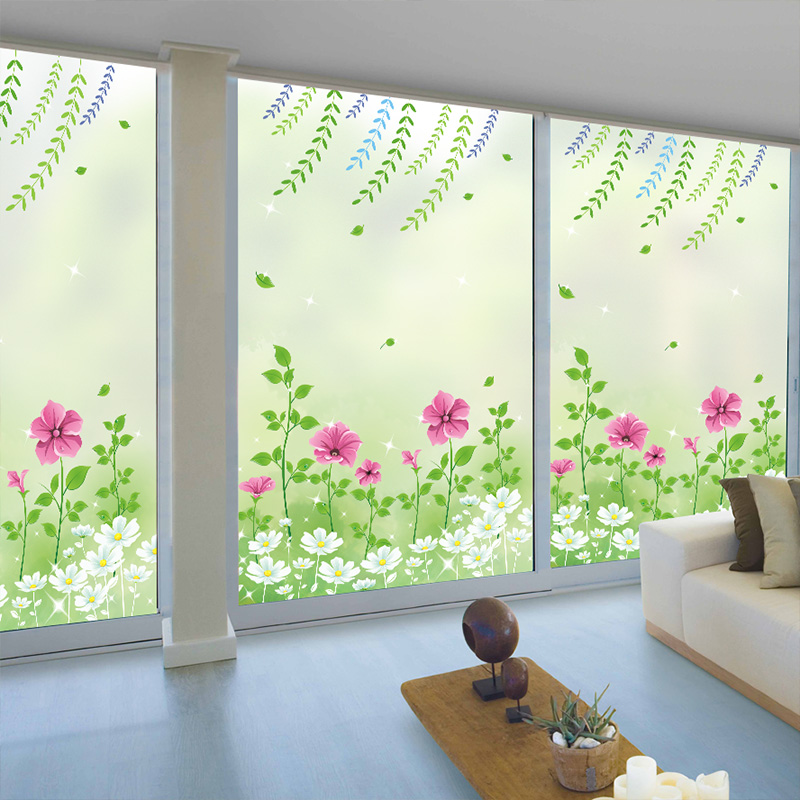 Bathroom balcony window cover stickers shade electrostatic frosted glass film transparent opaque window stickers qt003 in wall stickers from home garden