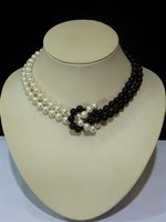Woman Jewelry 2 Rows Necklace 10mm White Black Bead Natural South Sea Shell Pearl AAA Round