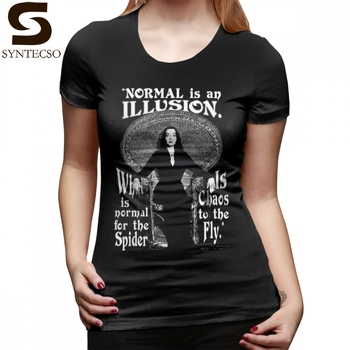 Spider T-Shirt Morticia Addams T Shirt Simple O Neck Women tshirt 100 Cotton XXL Short Sleeve Silver Graphic Ladies Tee Shirt