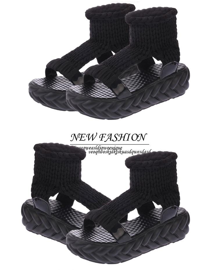 HTB1GrXkeHArBKNjSZFLq6A dVXaV 2019 New Casual Summer Shoes Women Comfortable Wool Ladies Platform Sandals Knit High Heels Grey Rose Red Sandales