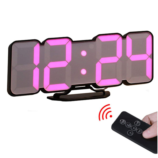 Voice Control 3D LED Digital Wall Clock Remote Control Electronic Table Watch On The Wall Nixie Kitchen Clock Horloge Mural