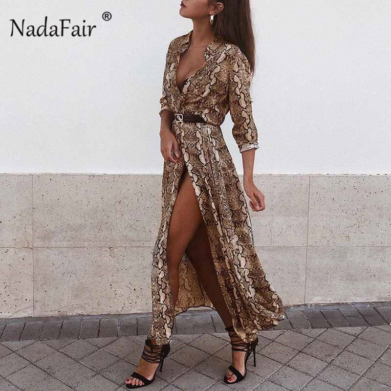 Nadafair Midi Snake Print Dress Women Vestidos Buttons Cut Split Sexy Chiffon Summer Dress Animal Print Vintage Long Dress