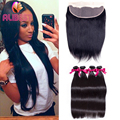 6A India Virgin Hair bundles With lace Frontal Closure Straight Hair 4 Bundles With Closure Human Hair