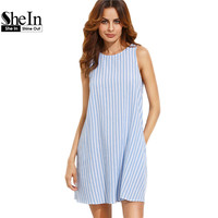 SheIn Women Dress Summer 2017 Casual Dress Ladies Blue And White Striped Sleeveless Shift Dress Summer