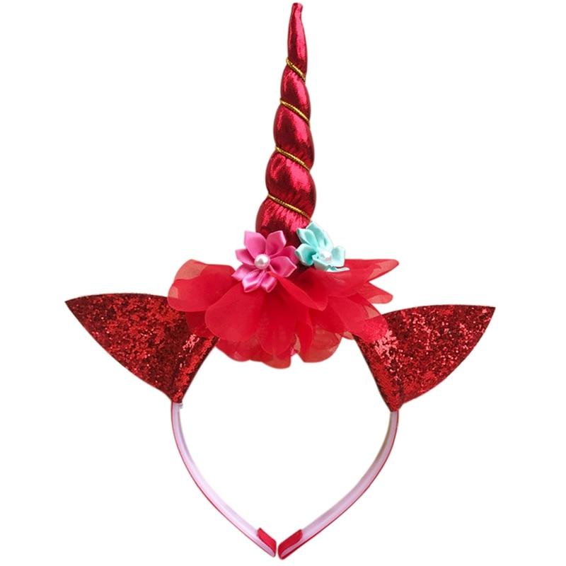 DIY Kawaii Kids Girl Unicorn Horn Headband Glitter Hairband Glittery Beautiful Headwear Hair Accessories Easter Bonus For Party