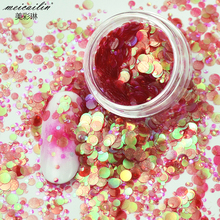 New 1 Box Shiny Round Ultrathin Sequins Colorful Nail Flakes Art Glitter Tips UV Gel 3D Nail Decoration Manicure DIY Accessories new 3d nail art tips laser silver sequins square round sequins nail glitter rhinestone diy nail wheel art decoration