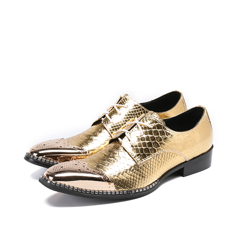 British Style gold dress shoes men male steel toe oxford crocodile genuine leather elegant office formal gents sepatu pria