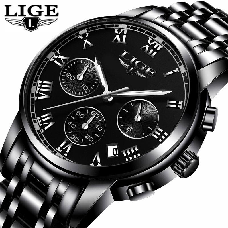 LIGE Mens Watches Top Brand Luxury Clock Full Steel Fashion Quartz Watch Men Casual Waterproof Sports Watches Relogio Masculino men fashion quartz watch mans full steel sports watches top brand luxury cuena relogio masculino wristwatches 6801g clock