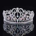Plata de Lujo de Cristal AB Corazón Tiara Nupcial de La Corona de Princesa Reina de la Moda Prom Coronas Tiaras de La Boda Accesorios Para el Cabello Al Por Mayor