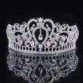 Prata Luxo Cristal AB Coração Tiara Coroa De Noiva Tiaras De Casamento De Moda Princesa Rainha Prom Coroas Acessórios Para o Cabelo Por Atacado