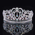 Silver Luxury Crystal AB Tiara Heart Bridal Crown Fashion Princess Queen Tiaras Wedding Prom Crowns Hair Accessories Wholesale