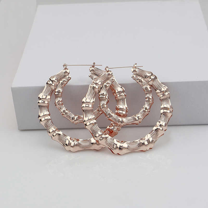 TAFREE Gold/Rose Gold Ear Ring Double Circle Exaggerated Large Bamboo Earrings Hiphop Dance Club Nightclub Women Jewelry E0062