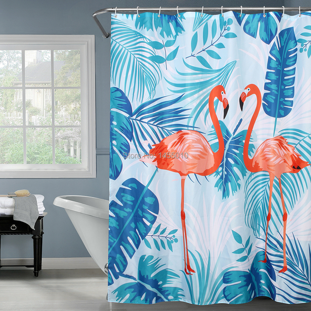 Happy Tree Polyester Red Flamingo Green Leaves Shower Curtain Thicken Fabric Bathroom Waterproof Bath 180x180cm