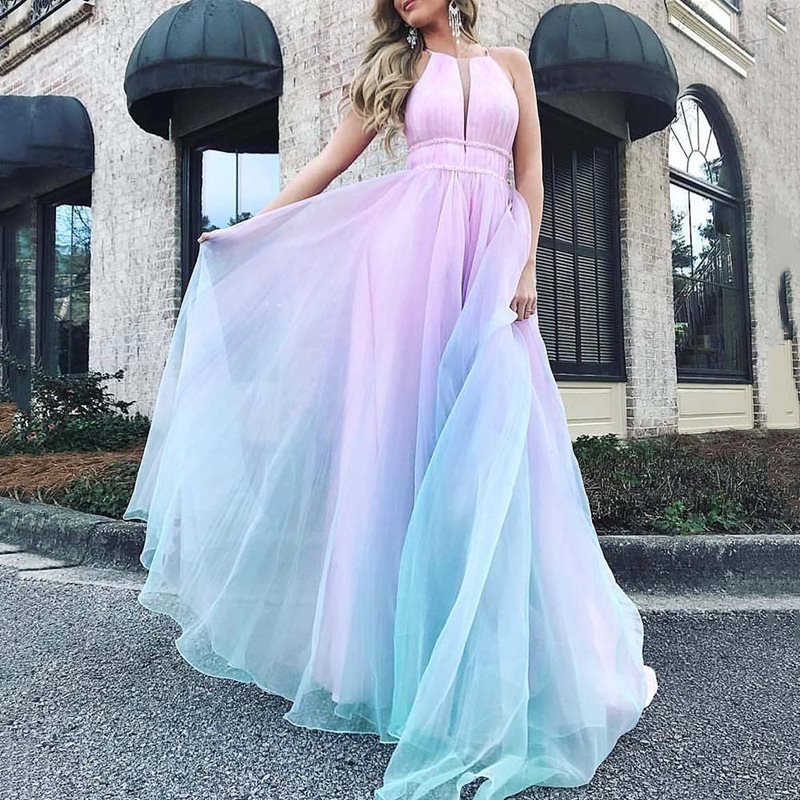 Floor Length <font><b>Pink</b></font> <font><b>Blue</b></font> <font><b>Sexy</b></font> Long Party <font><b>Dress</b></font> Princess Halter Sleeveless Summer High Waist Mesh Elegant Wedding Ladies Maxi <font><b>Dress</b></font> image