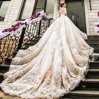 Новые свадебные платья 2018 люкс собор царский поезд Кружева Vestido De Noiva аппликации с длинным рукавом высокое качество свадебное платье