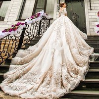 Newest Wedding Dresses 2018 Luxury Cathedral Royal Train Lace Vestido De Noiva Appliques Long Sleeve High Quality Bridal Gown