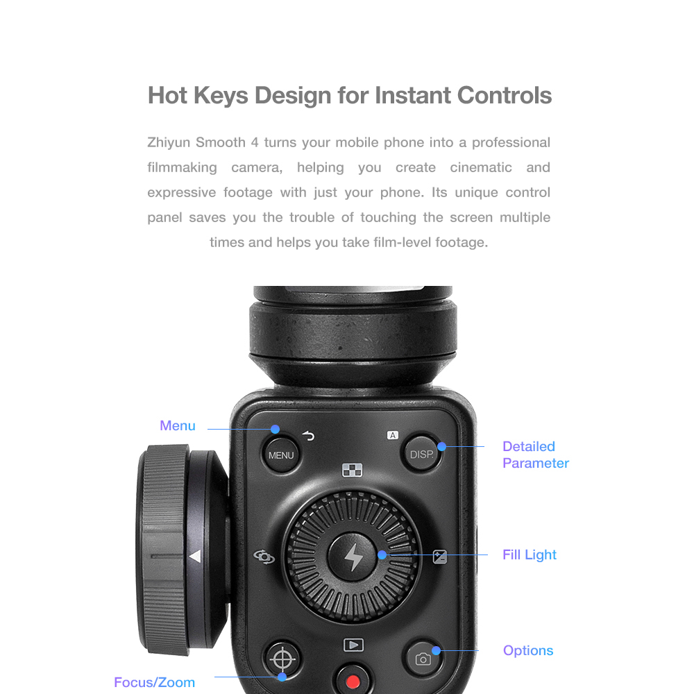Zhiyun Smooth 4 3-Axis Handheld Gimbal Stabilizer Focus Pull & Zoom for iPhone XS XR X 8Plus 8 7 6 SE Samsung S9 Action Camera