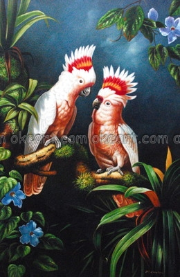 decoration red and white tropical birds office background high