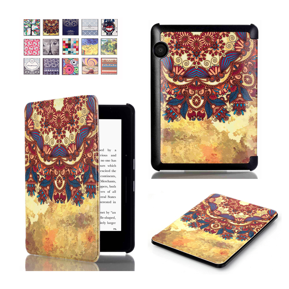 For Amazon Kindle Voyage Cover Case 6 inch, VTRONHYE Colorful Painting PU Leather Flip Smart Case for Kindle Voyage Capa Para for amazon 2017 new kindle fire hd 8 armor shockproof hybrid heavy duty protective stand cover case for kindle fire hd8 2017