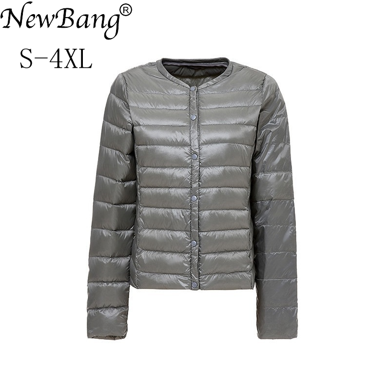 NewBang Brand Womens Down Jacket Portable Thin Slim Ultra Light Down Jackets Collar-less Feather Coat Feather Lightweight Jacket