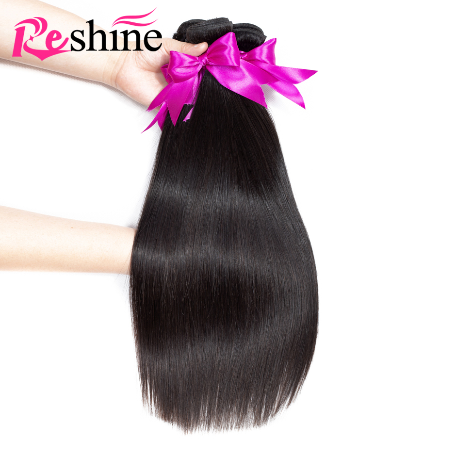 Reshine Peruvian Straight Hair 4 Bundles 100 Human Hair Weave Extensions Natural Color Remy Hair Free