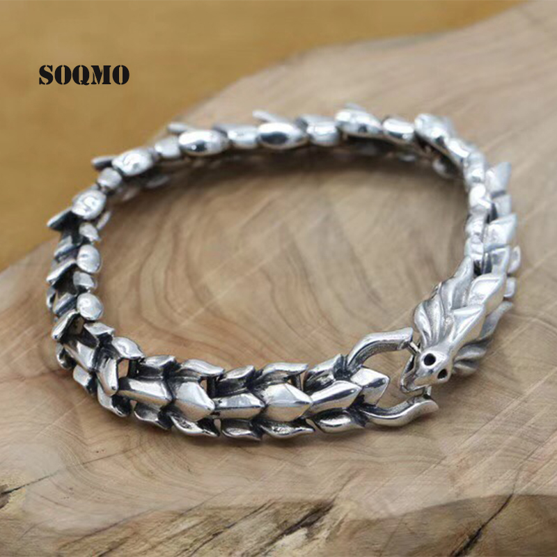SOQMO Genuine 925 Sterling Silver Jewelry Heavy Dragon Scale Bracelet For Men 20CM Vintage Punk Style SQM012 8mm wide 20cm 925 sterling silver vintage heavy chinese dragon body bracelet men thai silver gift jewelry ch058041