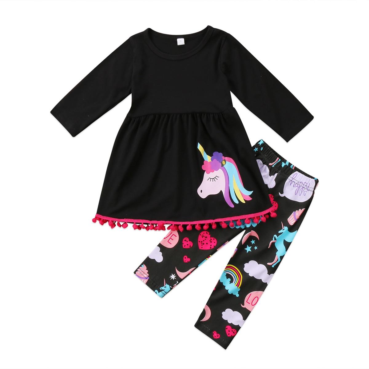 2017 Xmas Peuter Kids Baby Meisjes Outfit Kleding Jurk Top Shirt + Regenboog Print Broek 2 stks Set Maat 3-7 T