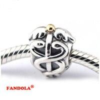 925 Sterling Silver Beads Fits Pandora Bracelets Life Saver Caduceus Charms for Women DIY Making FL108K
