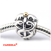 925 Sterling Silver Beads Fits Pandora Bracelets Life Saver Caduceus Charms for Women DIY Making FL108K