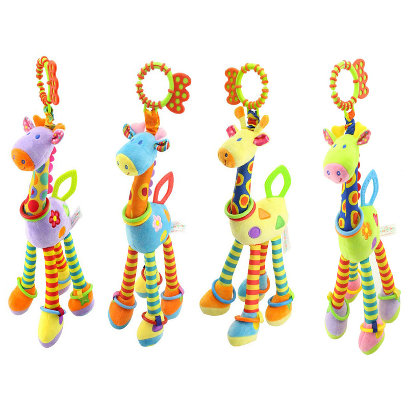 Quality Deer Plush Toys Bed Baby Mobile Hanging Baby Rattles Toy Giraffe With Bell Ring Infant Teether Toys Gift Free Shipping cute baby kids rattle toys tinkle hand bell multifunctional plush stroller hanging rattles kawaii baby infant toy gifts