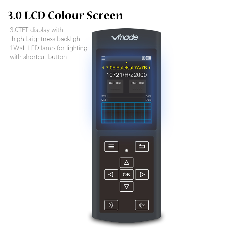 Image 5 - Vmade Newest Original DVB S/S2 Black Satellite Finder 3.0 inch LCD Display Support MPEG 2/4 1080p DVB S2 Sat Finder for Germany-in Satellite TV Receiver from Consumer Electronics