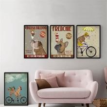 Perro francés heladera Vintage Poster colgante pared arte niños habitación decoración Pug bicicleta pared pintura cuadro de lienzo Cuadros