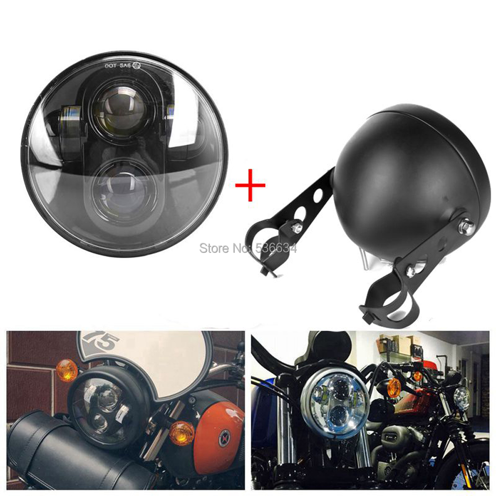 5-3/45.75 inch led Headlight Projector Daymaker + Led Headlight Housing Mount Bracket For 1997-1999 Heritage Springer FLSTS 5 3 4 led headlight for triumph rocket iii 3