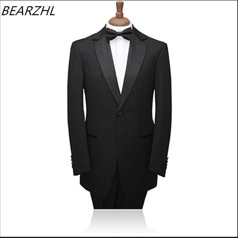 남성 슬림 패션 정장 2 조각 턱시도 신랑 입고 검은 저녁 정장 2019