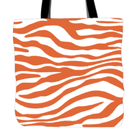 Orange Zebra Printed Tote Bag For Shopping Food Convenience Women Shoulder White Canvas Hand Bags Two