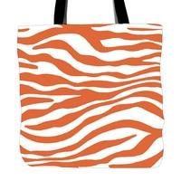 สีส้มม้าลายพิมพ์กระเป๋าสำหรับการช็อปปิ้งอาหารความสะดวกสบายผู้หญิงไหล่สีขาวผ้าใบกระ