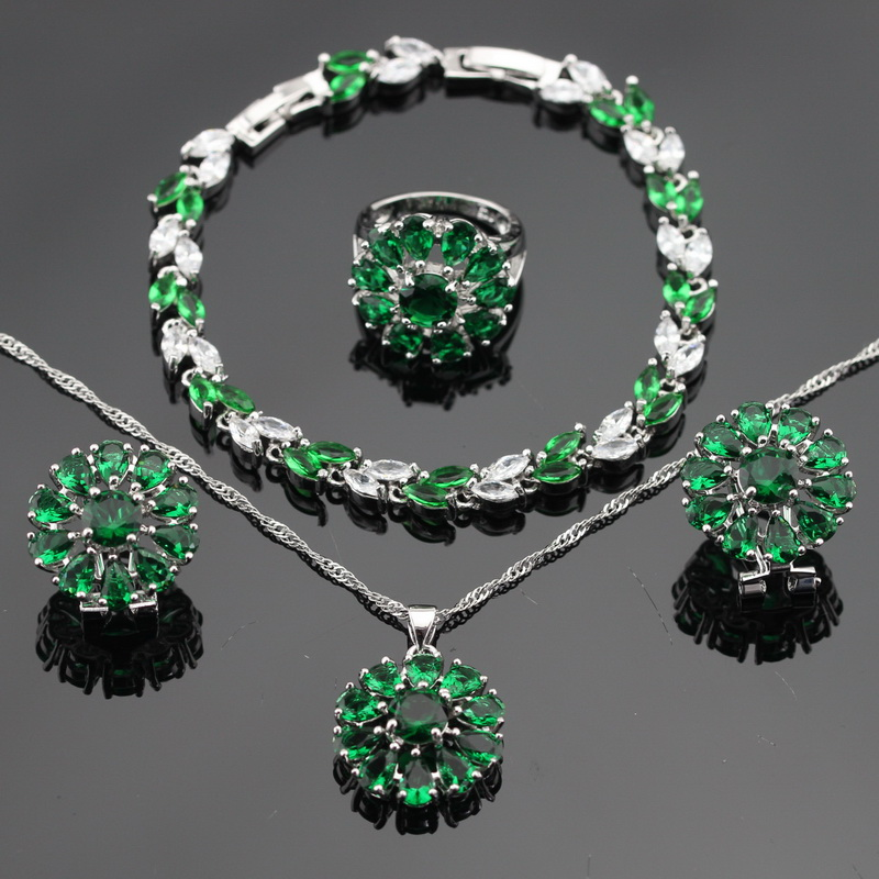 Silver Color Green Created Emerald White CZ Necklace Pendant Bracelets Earrings Rings For Women Jewelry Sets