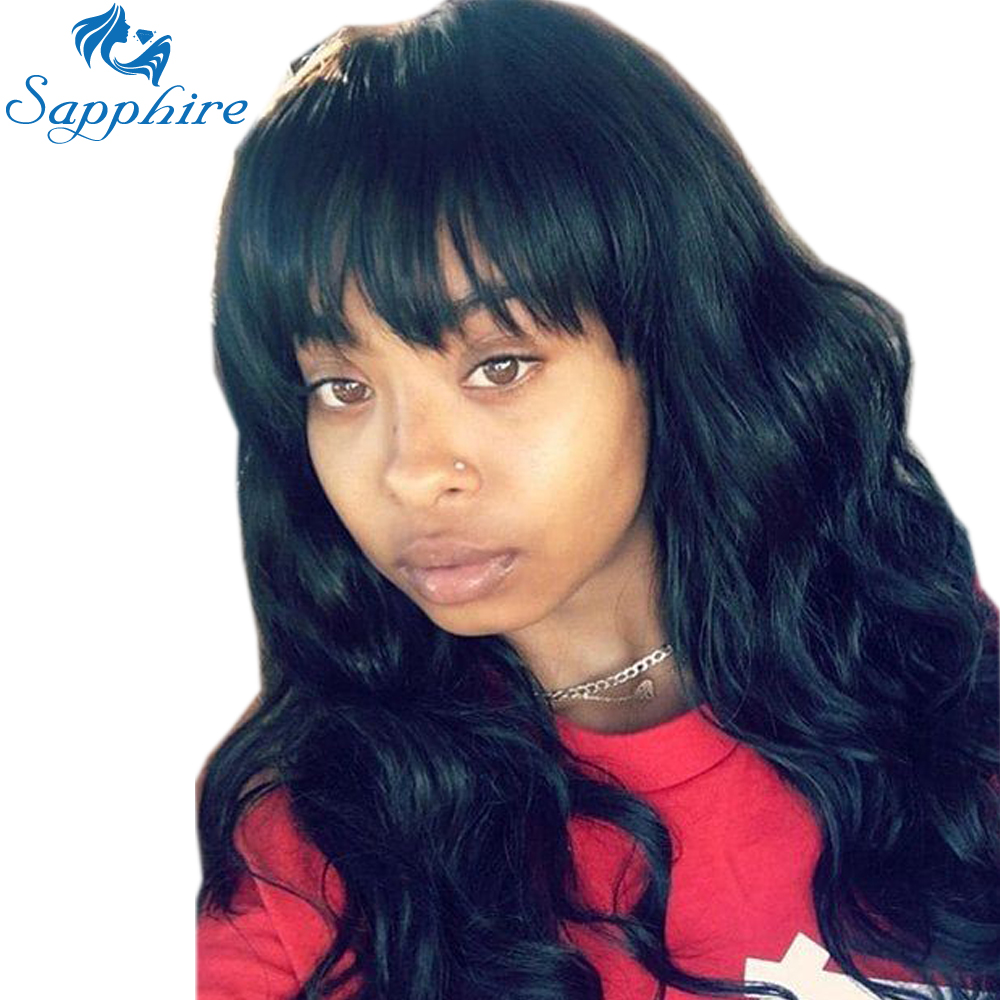Sapphire Glueless Fringe Front Human Hair Wigs For Women Black With Bang Brazilian Ocean Wave Lace