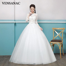 VENSANAC Elegant Illusion Lace Appliques O Neck 2018 Pearls Ball Gown Wedding Dresses Bow Sash Open Back Bridal Gowns