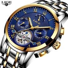 743aac91bf4 Novo 2018 LIGE Marca Assista Homens Top Luxo Automático Mecânica Assista  Homens de Aço Inoxidável Relógio de Negócios Relógios R..